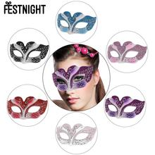 FESTNIGHT 6 Color Phantom Half Mask Sexy Plastic Halloween Masquerade Ball Mask Glitter Decoration Fancy Dress Costume