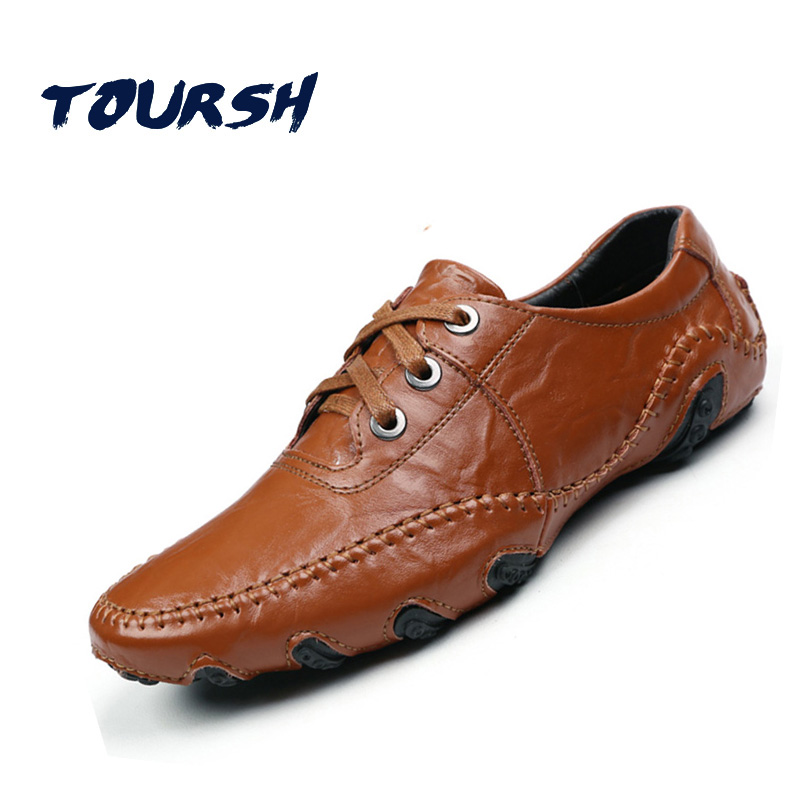 TOURSH MenS Shoes Casual Shoes Fashion Moccasins MenS Loafers Leather Male Shoes Sapatenis Men Chaussure Homme Brand Handmade<br>