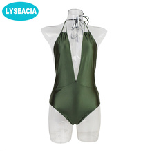 Buy LYSEACIA Backless Beachwear Women Low Back Monokini Halter Neck Swimwear 2018 Sexy One Piece Swimsuit Solid Color Green Pad