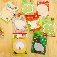 2pcs/lot Fresh forest animal memo pad Cute cartoon Post It note Flags Sticky Notepads Stationery School supplies GT359