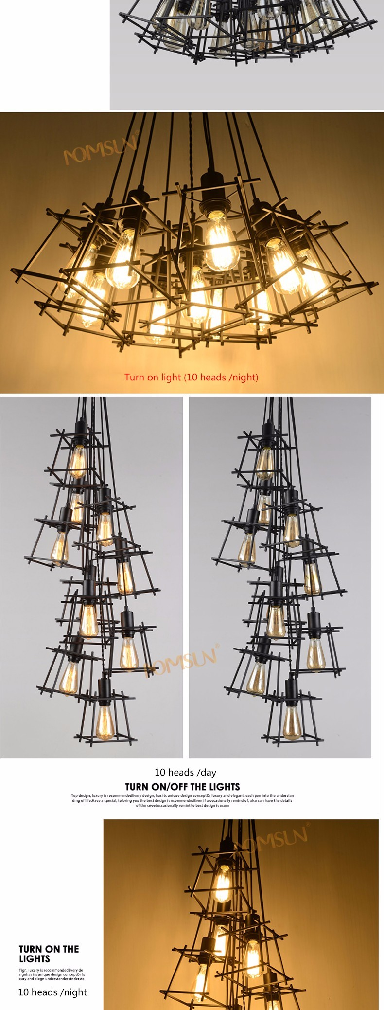 American Loft Vintage pendant light Personality Wrought Iron lights Edison nordic lamp industrial cage lamp lighting fixtures 4