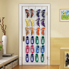 24 Pockets Over Door Shoes Hanging Bag Box Shoes Storage Holder with Hooks Space Saver Practical Home Storage Organizer(China)