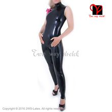Buy Sexy Latex Catsuit high collar bow Rubber body suit bodysuit Jumpsuit overall sleeveless zentai tights zip Back LT-113