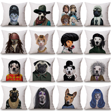 Model Style Dog Cat Fashion Cushion Pillowcase Cotton Linen Decorative Pillows Use For Home Sofa Car Office Almofadas Cojines