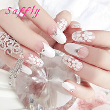 Beautiful Flowers 24pcs French Printing False Nail With Diamonds Tips Art Design Fake Nails Glue Sticker Free Shipping