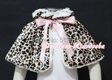 Pink Baby Girl Fluff Reversible Leopard Print Petti Shawl Coat Wrap Scarf 6m-2Y