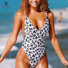 Buy Ariel Sarah 2018 Sexy One Piece Swimsuit Leopard Print Swimwear Women Halter Bathing Suit Piece Swimsuit Bodysuit Monokini