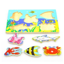 3D Baby Kid Wooden Magnetic Fishing Game Jigsaw Puzzle Toy Interesting Baby Children Educational Puzzles Interactive Games