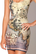 Sexy Women Sleeveless Tennis Sports Dress Female Middle Earth Map Sundress High Elastic Vogue Digital Print Fitness Tennis Dress