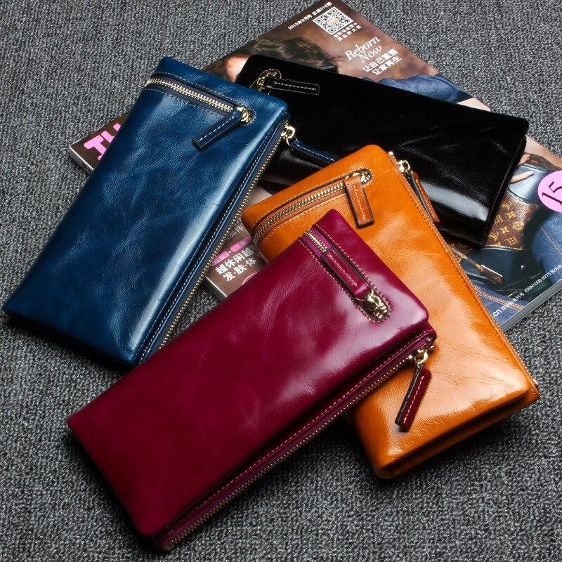European and American Style Fashion Women Long Wallets Shinny Oil Wax Real Leather Ladies Wallet Zipper Female Wallet<br><br>Aliexpress