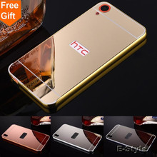 New Golden Plating Aluminum Frame + Mirror Acrylic Back Cover Case For HTC Desire 530 626 628 820 816 828 Phone Protective Cases