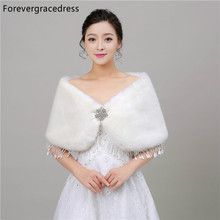 Forevergracedress Real Pictures White Faux Fur Stoles Wedding Wrap Winter Bolero Jacket Bridal Accessories Cape Cloak In Stock