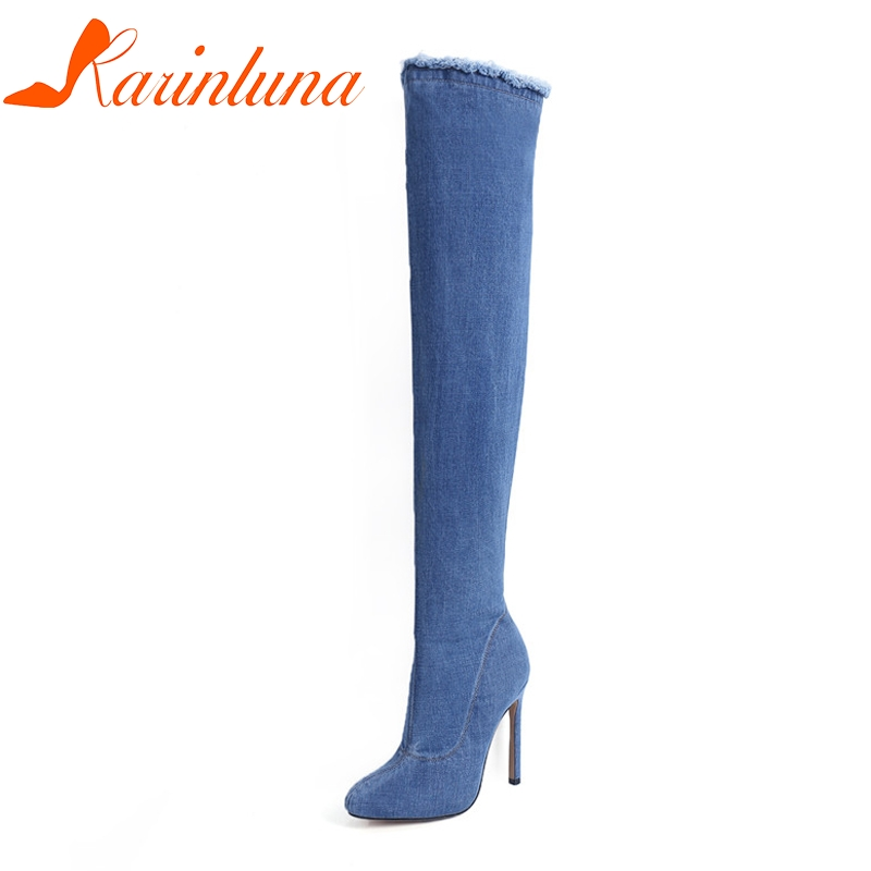 KARINLUNA New Women Shoes Denim Thin High Heel Over-the-Knee Solid Shoes Woman Casual Fashion Boots Size 34-39