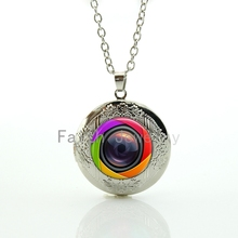 Super cool fashion Colorful Camera Lens image pendant charming men women hand made locket necklace jewelry HH243(China)