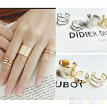 3Pcs/Set Fashion Top Of Finger Over The Midi Tip Finger Above The Knuckle Open Ring RING-0221(China)