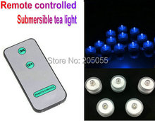 480pcs/lot LED REMOTE CONTROL Floralyte Submersible LED tea Light with controller waterproof wedding centerpiece Xmas party-BLUE