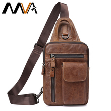 MVA Men Shoulder Bag Small Cell Phone Flap Genuine Leather Bag Strap Sling Leather Chest Pack Mens Chest Bags Men Messenger Bags(China)