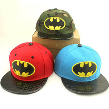 2016 Korean Children Baseball Caps kids Hip hop cap Leather batman snapback cap For Boys Girls Peaked cap
