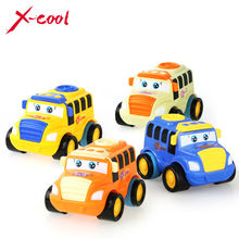 X-cool 1 Pcs Children Toys Colorful Mini Inertia Model Bus  Cartoon toy Push and Go Friction Toy  Gift  for boy 1-3 years
