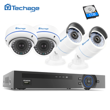 Techage 4-Channel 1080P POE CCTV Security System, Video NVR Recorder Dome Indoor/ Outdoor Weatherproof 2.0MP Surveillance Camera