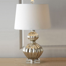 American gourd table lamp Chinese crystal bottom bedside creative bedroom glass desk lamp LU811254(China)