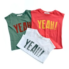 YEAH Print Boys Tops Summer T-shirts Cotton Girls Candy Tshirts Children Tops Tiny Cotton Tees Shirts 2017Korean Design Tanks