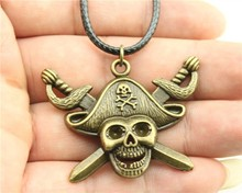 WYSIWYG  fashion antique bronze color 45*34mm pirate skull with sword pendant leather chain necklace