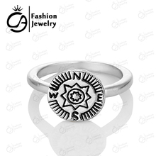 Best quality High Polish Antique Silver Plating Bohomian Boho Midi Follow your heart Compass Ring  #R017