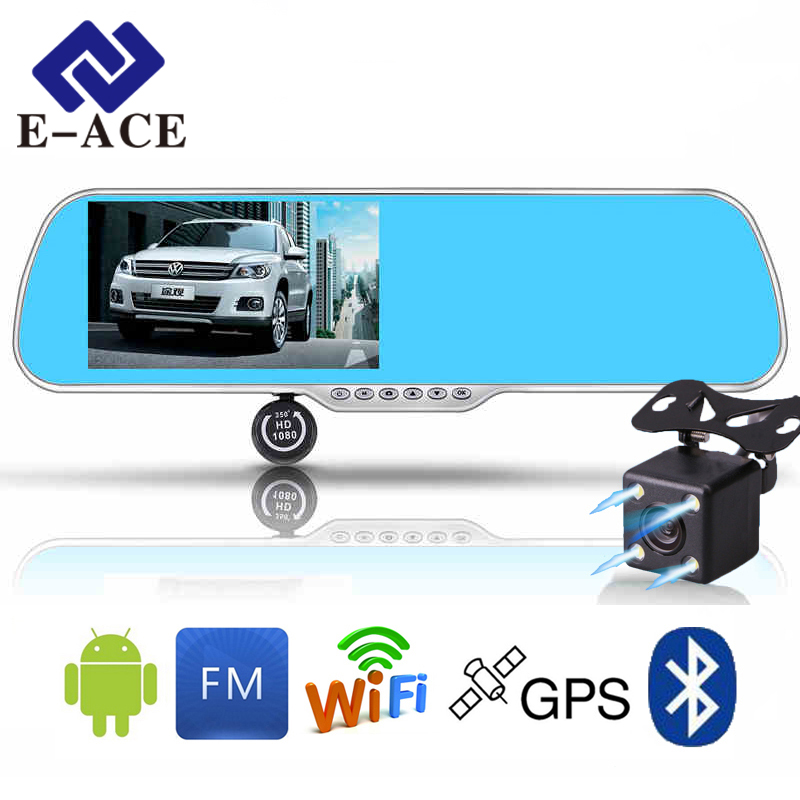 E-ACE Car Navigator Android DVR Mirror Rearview 350 Degree Camera Bluetooth Handfree WIFI FM 5.0 Inch Display FHD 1080P Recorder(China)