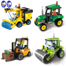 A Toy A Dream City Construction Road Roller Forklift Truck Tractor Sweeper Truck Building Block Kids Toy Compatible Lepin