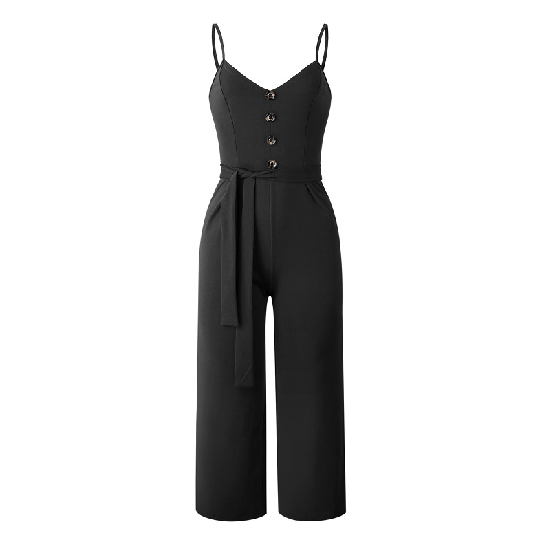 101046 2019 Summer Women Solid Skinny Sexy Jumpsuit Casual Bandage Streewear Spaghetti Strap V-neck Playsuit Overalls for Women Party 4