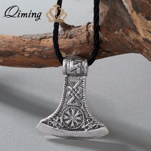 QIMING Punk Style Men Slavic Perun axe Antique Silver Amulet Kolovrat Symbol Pagan Jewelry Amulets and Talismans Pendants(Hong Kong)
