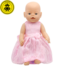 Baby Born Doll Dress Clothes fit 43cm Baby Born Zapf Pink Dress Doll Accessories For 43cm Love Hope Children Birthday Gift 047(China)