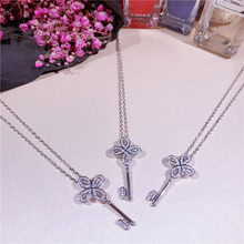 Fashion sweet personality trend Chinese knot key chain necklace 925 sterling silver flower clavicle chain female XL010(China)