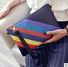 Vogue of new fund of 2017 ms envelope bag article rainbow smile pattern character hand bag shoulder aslant bag phone bag handbag(China)