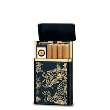 Gold Color Cigarette Case 1 PCS Wholesale Price Windproof Lighters USB Lighter Box Creative Men Lighter Cigarette Box -SD227(China)