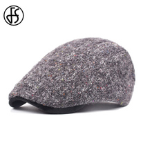FS Fashionable Winter French Hat Casquette Cap For Men Black Knit Woolen Peaked Caps Restore Newsboy Hat Gorra Boina Para Homens(China)