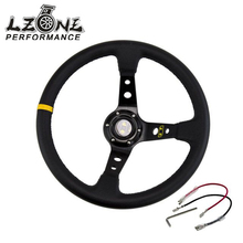 "14"" 350MM OMP Aluminum Frame Sport Racing Steering Wheel PVC Leather Steering Wheel Deep Corn Dish JR-SW22(China)"