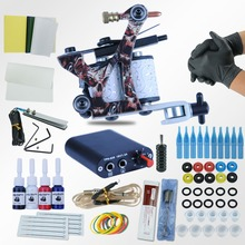Beginner Tattoo Starter Kits 8 Wrap Coils Guns Machine Kit Set 1/6 oz Tattoo Ink Sets Power Supply Needles Permanent Tattoo Kits