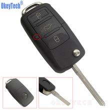 OkeyTech New Car Remote Flip Key Case Shell For Volkswagen VW Jetta Golf Passat Beetle Polo Bora 3 Buttons Uncut Replacement Fob(China)