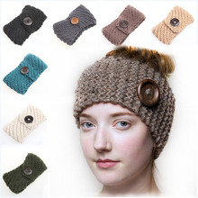 Norvin Fashion Women Button Headband Elastic Turban Knitti Wool Headband Ethnic Wide Stretch Girl Hair Accessories Winter 2016