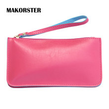 MAKORSTER long Fashion Wallet for Ladies PU Leather Wallets and purses female coin holders wristlet feminina portefeuille femme(China)