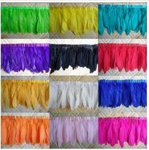 Multi Color Goose feather trims 10 meters/lot Dyed geese feather ribbons /15-17cm Duck feather fringes Free shipping(China)
