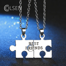 COLSEN woman female personality puzzle jewelry Europe and the United States popular letters BEST FRIENDS necklace silver pendant