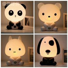 Panda Rabbit Bear Dog Cute Animal Night Lights Cartoon KidsLamp Bulb Nightlight Feeding Lamp Desktop Home Decor EU Plug XHH8139