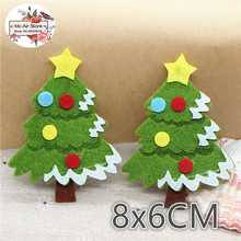 8CM 10pcs Non-woven patches Christmas Tree Felt Appliques for clothes Sewing Supplies diy craft ornament