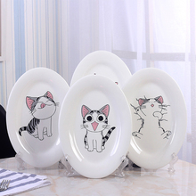 Lovely Cat Pattern Plate Oval Ceramic Plates Dessert Fruit Salad Fish Dinner Food Plate Biscuit Dish Dishes-028(China)