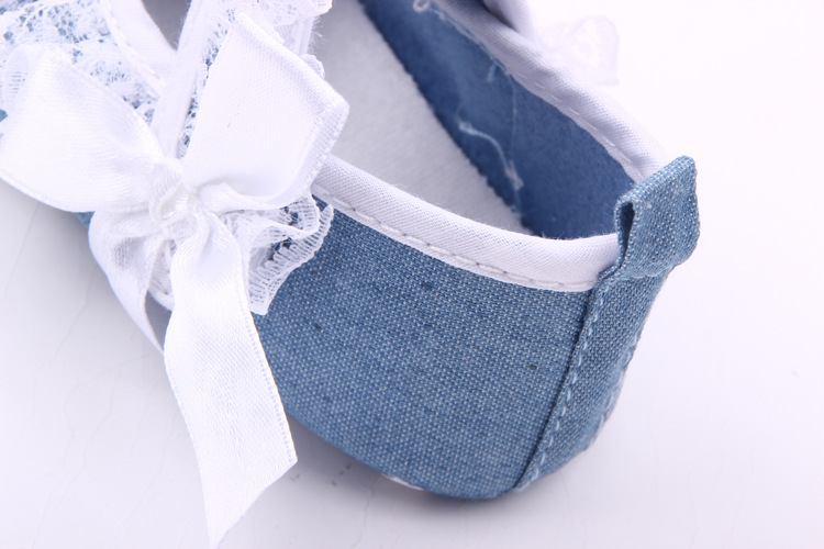 New 2018 Baby Princess Girls Mary Jane Shoes First Walker Solid Denim Bow-knot Crib Bebe Striped Ballet Dress Walking Shoes