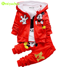 KEAIYOUHUO Children Clothing 2017 Winter Girls Clothes Set Coat+T-shirt+Pant 3pcs Kids Boy Sport Suit Christmas Costume Outfits