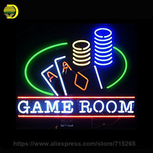 Neon Signs Game Room Handmade Real Glass Tube Poke Neon Bulb LOGO Neon Light Sign Lamp Decorate Room Commercial Display 24X20(China)